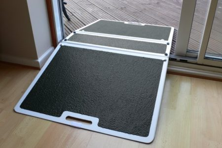 Easily pass through your French window with the fibreglass folding threshold ramp