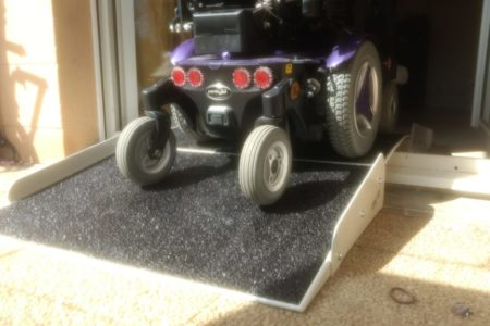 threshold ramp for electric wheelchair