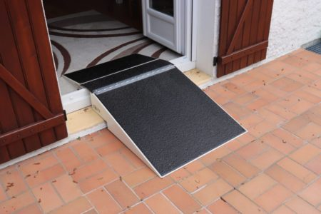 Interior and exterior access with a folding threshold ramp